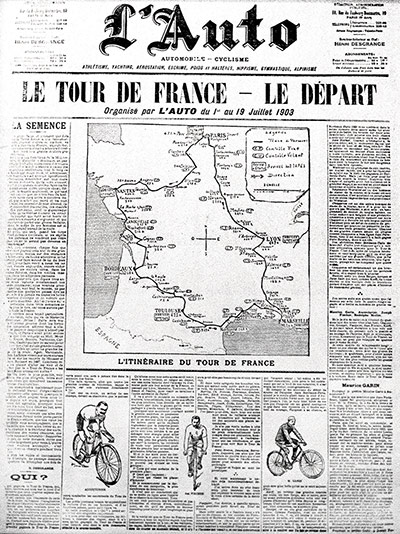 L'Auto newspaper from the start of the first ever Tour de France