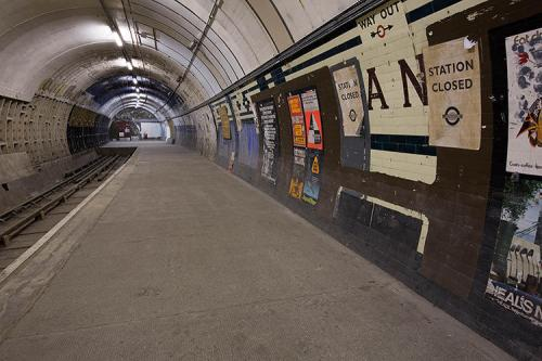 an unused London tube station